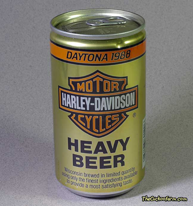 Harley-Davidson Heavy Beer beer can from the 1988 Daytona Week back side