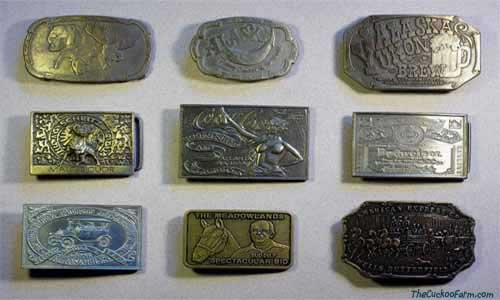A collection of various belt buckles