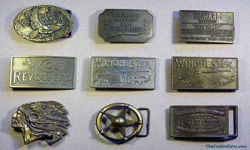 A collection of various Americana belt buckles