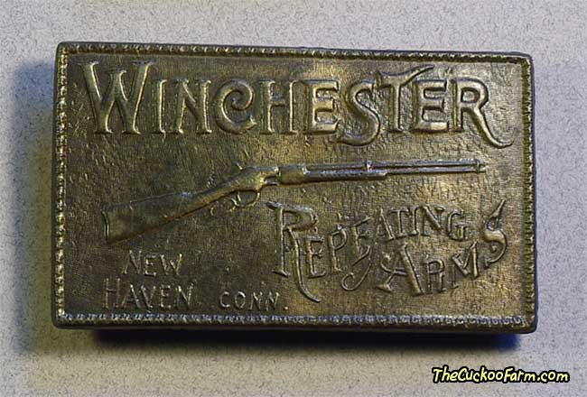 Winchester Reapeating Arms Belt Buckle - Brass