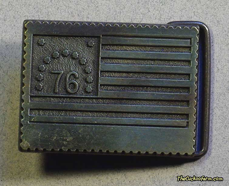 Bicentennial Flag Stamp Style Belt Buckle