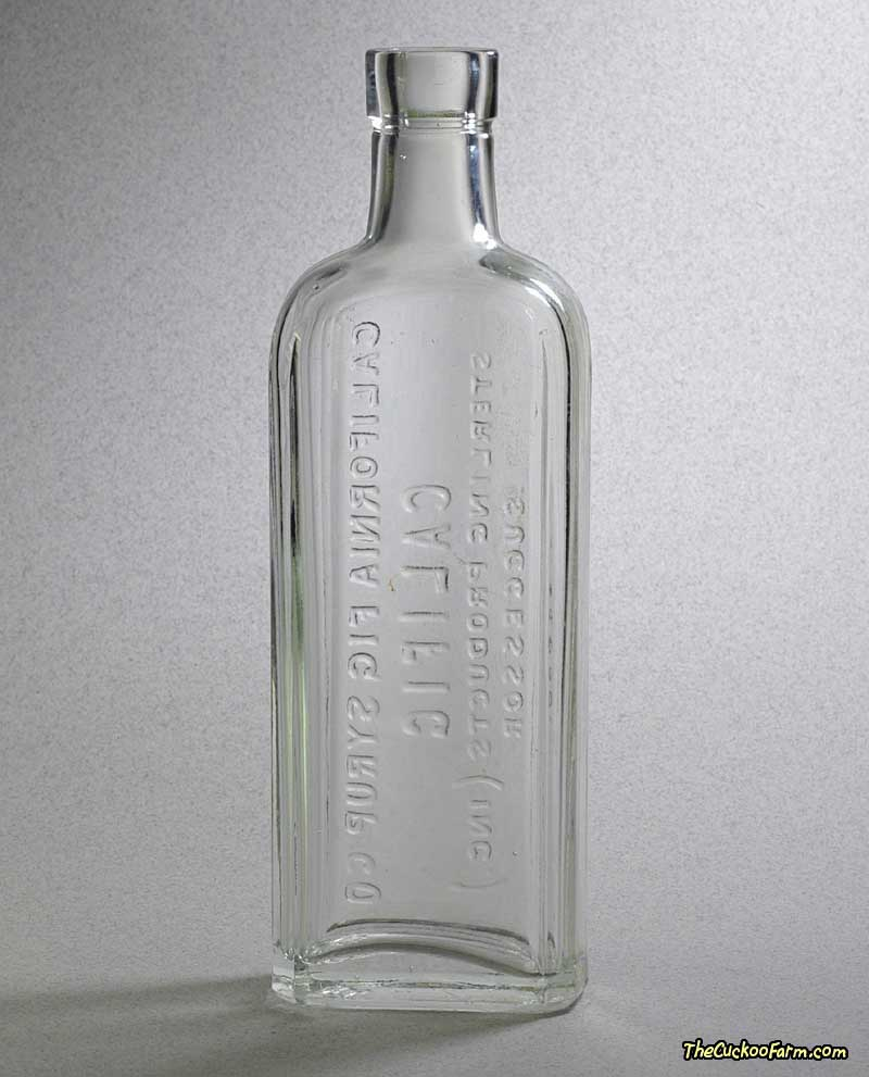 Old clear California Fig Syrup Co. Califig Bottle back