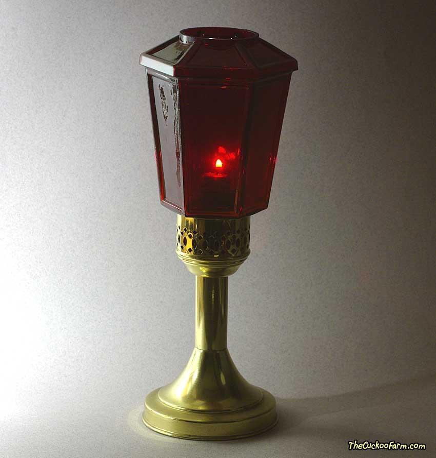 Mason Candlelight Company Candlelamp with Red Lantern Style Globe