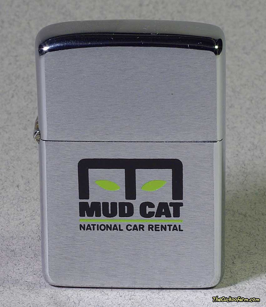 Zippo cigarette lighter with Mud Cat logo, front